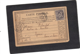 Yvert 77 Sage Sur Carte Precurseur Cachet Chalon Sur Sâone 1878 - 1877-1920: Période Semi Moderne
