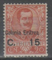 Eritrea 1905 - Floreale C. 15 Su 20 - Soprastampa Spostata **    (g4569) - Eritrea