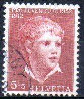 SWITZERLAND 1952 Children's Fund - 5c.+5c. Portrait Of A Boy (Anker)   FU - Pro Juventute
