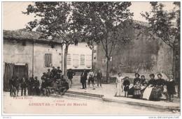 11.    GINESTAS.   Place Du Marché.   Trés Animé. Epicerie.   TBE.  1924. - Autres Communes