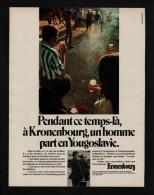 Pub Papier  1970 Boisson BIERE KRONENBOURG Brassserie Strasbourg Petanque Joueur De Boules - Advertising