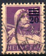 SWITZERLAND 1915 William Tell Surcharged 20c. On 15c. - Purple On Buff   FU - Gebraucht