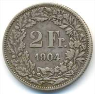 SWITZERLAND , 2 FRANKEN 1904 B , UNCLEANED SILVER COIN - Suiza