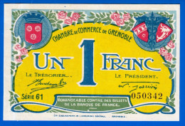 BON - BILLET - MONNAIE - CHAMBRE DE COMMERCE DE GRENOBLE 1 FRANC 38 ISERE - 08 NOVEMBRE 1917 SERIE 61 N° 050342 - Handelskammer