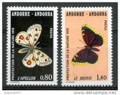 1976 Andorra Farfalle Butterflies Schmetterlinge Papillons Set MNH** F151 - Andorre Français