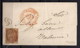 1852, ED. 12, CARTA CIRCULADA ENTRE ORIHUELA (MURCIA) Y VALENCIA, PARRILLA NEGRA Y BAEZA EN ROJO, AL DORSO LLEGADA - 1850-68 Kingdom: Isabella II