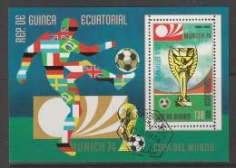 BLOC OBLITERE DE GUINEE EQUATORIALE - COUPE DU MONDE DE FOOTBALL MUNICH´74 : COUPE (DH) - Coppa Del Mondo