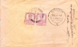 Johore 1932 Commercial Cover Poste From Muar To Rayavaram, South India - Johore