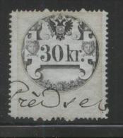 AUSTRIA 1858 REVENUE 30KR TYPE 3 BROKEN RIGHT CURL THIN WHITISH PAPER  NO WMK PERF 15.00 X 13.75  BAREFOOT 038 - Fiscaux