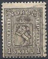 NORVEGE - 1 S. Gris-noir De 1867 Oblitéré - Norvège