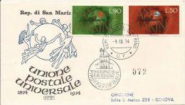 1974 UNIONE POSTALE UNIVERSALE FDC SAN MARINO RODIA - FDC