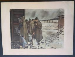 Héliogravure Prisonniers De Guerre Signée Pierre LELONG Ancien De L'OFLAG IV D - 1939-45
