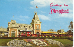 DISNEYLAND: POSTCARD THE GUESTS ENTERING THE MAGIC KINGDOM, ARE GREETED BY A FLORAL MICKEY MOUSE! GECKO. - Disneyland