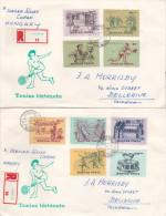 Hungary 1965 Tennis Championship Set Registered FDCs - FDC