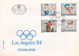 Yugoslavia 1984 Los Angeles Olympic Games FDC - Summer 1984: Los Angeles