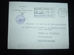 LETTRE OBL.MEC. 1-3-1957 BOULOGNE-SUR-MER (62 PAS DE CALAIS) + MAIRIE DE ST MARTIN-BOULOGNE + POISSON - Fische