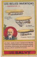Chromo Rare Image Bon-point Farine Lactée Salvy Vernon Les Belles Inventions L'aérostation N°10 Dirigeable Santos Dumont - Trade Cards