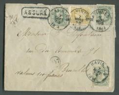 """N°30(3)-32 Obl. Sc HAVINNES Sur Lettre ASSURE Du 7 Mars 1884 Vers Bruxelles; (manuscrit) """"Valeur 100 Francs"""". Document U - 1869-1883 Léopold II"""
