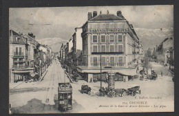 DF / 38 ISERE / GRENOBLE / AV. DE LA GARE ET ALSACE LORRAINE / PUBLICITES / TRAMWAY / HÔTELS / CIRCULEE EN 1921 - Grenoble