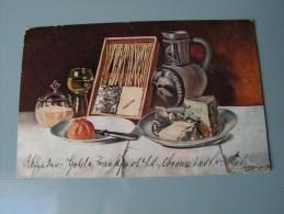 == Stilleben  Sign. Bürger  Feldpost Frankfurt 1914  Essen Trinken Frühstück - Peintures & Tableaux