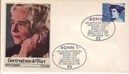 FDC  829  Bedeutende Frauen - Gertrud Frein Von Le Fort (1876-1971) , Bonn 1 - [7] Federal Republic
