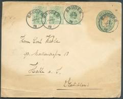 N°45(3) En Complément Sur Enveloppe-lettre 10 Centimes Obl. Sc BRUGES Le 24 Janvier 1893 Vers Halle (DE). - 9854 - Entiers Postaux