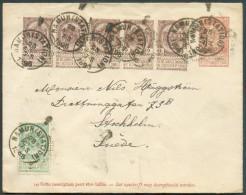 Armoiries 2 Centimes Bruns (bande De 5) + 5 Centimes En Complément Sur E.P. 10 Centimes Fine Barbe Obl. Sc NAMUR (STATIO - Entiers Postaux
