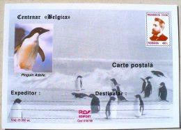ROUMANIE MANCHOTS, PINGOUINS, Centenaire BELGICA. Entier Postal Neuf Emis En 1998 Philatelie Polaire (2) - Penguins