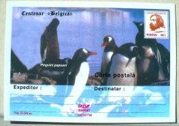 ROUMANIE MANCHOTS, PINGOUINS, Centenaire BELGICA. Entier Postal Neuf Emis En 1998 Philatelie Polaire (3) - Penguins