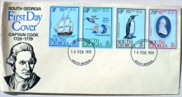 SOUTH GEORGIA COOK, MANCHOTS, PINGOUINS, Yvert 73/76 FDC 14/2/1979 - Penguins