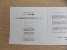 Doodsprentje Denise Hosten Pervijze 26/10/1934 Gent 17/4/2001 - Religión & Esoterismo