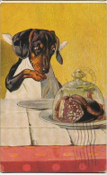 Chien Teckel Dachsund Humain Human Behaviour Eating Sausages Charcuterie 4 Timbres Perou - Cani