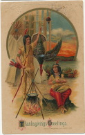 Thanksgiving Chasse A L Arc Dinde Indiens Gaufrée Bow Hunting Indians Turkey Embossed - Thanksgiving