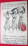 Cpa 3 Femmes Portant Une Bouteille De Champagne - Illustrateurs & Photographes