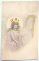 RARE Litho Colorisé Illustrateur TUCK N° 224 KIRCHNER ? Mot Poste Femme Fille Ailes Ange Etoile Jouant Harpe - Tuck, Raphael