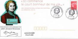CHAMBERY (SAVOIE) : Année Jean Jacques ROUSSEAU Oblitération Temporaire 2012 PAP CONCORDANT - Schriftsteller