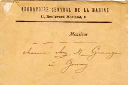 Correspondance-avec Enveloppe Adressée A GENAY Du Laboratoire Central De La Marine (65246) - Militaria