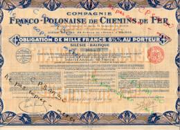 Action - Compagnie Franco-Polonaise De Chemin De Fer - Obligation De 1.000 Fr Aout 1931 - Chemin De Fer & Tramway