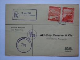 AUSTRIA 1948 CENSOR POSTCARD TO SCHWEIZ - 1945-60 Brieven