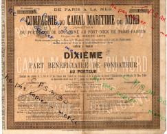 Action - Compagnie Du Canal Maritime Du Nord - Port-Rade De Boulogne Au Port-Dock De Paris-Pantin Cinq Dixième (5) - Chemin De Fer & Tramway