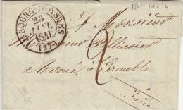 ISERE - Le Bourg D´Oysans - Lettre à Grenoble  -CAD Type 13-TM2 N - 1841 - 1801-1848: Precursors XIX