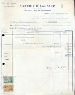 Factuur Facture Brief Lettre  - Filterie D' Aalbeke 1953 - Belgique