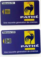 Lot 2 Télécartes Pathé Une Nouvelle Génération De Cinémas 50 Justifié Droite 120 07/96 (lot 17) - Télécartes