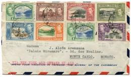 TRINITE & TOBAGO LETTRE PAR AVION DEPART PORT OF SPAIN JU. 15 39 VIA NEW YORK AND ONWARD BY AIR POUR MONACO - Trindad & Tobago (...-1961)