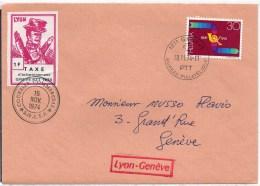 LYON : Grève Guignol Sur Enveloppe - Strike Stamps