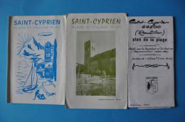 66750 SAINT CYPRIEN ROUSSILLON -  LOT DE 5 VIEUX DOCUMENTS TOURISTIQUES - Folletos Turísticos