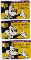 Lot 3 Télécartes Mickey Casting Center 11/91 Verso Petit Et Grand Mickey  (lot 18) - Télécartes