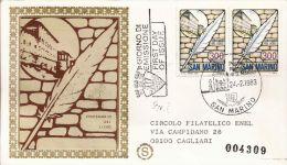 1983 CENTENARIO LICEO DI STATO FDC SAN MARINO FILAGRANO GOLD - FDC