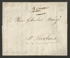 Belgique - Précurseur LAC De Anvers Vers St Nicolas Du 08/11/1830 - Pas De Cachet Postal - Révolution Contre Pays-Bas - 1830-1849 (Onafhankelijk België)