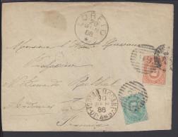 ITALIE - 1888 - DEVANT DE LETTRE - AFFRANCHISSEMENT HUMBERT 1er - CORRESPONDANCE DE LORETO POUR NOTRE DAME DE RETHEL -FR - 1878-00 Humbert I